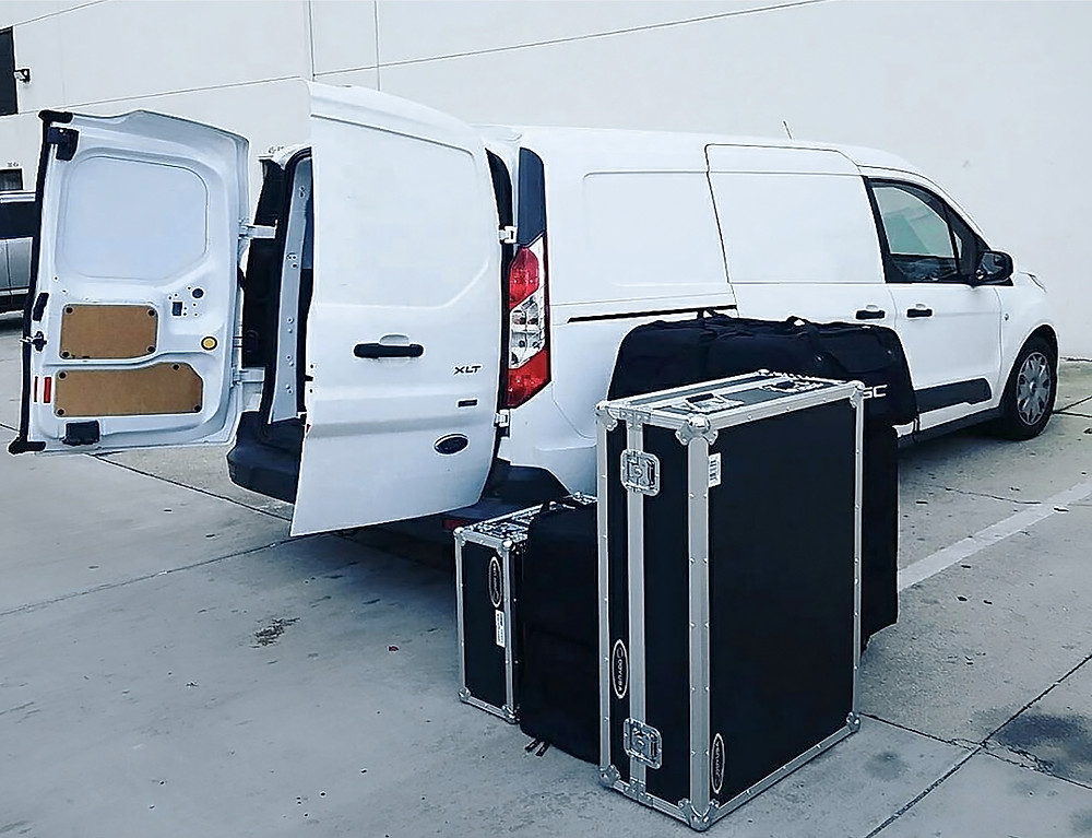 Cargo Van with Audiovisual Equipment for Delivery and Set-Up