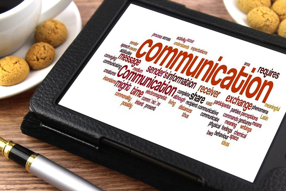Communication synonyms on a tablet.