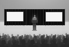 Vector visual of businessman giving speech at corporate conference with pipe and drape.
