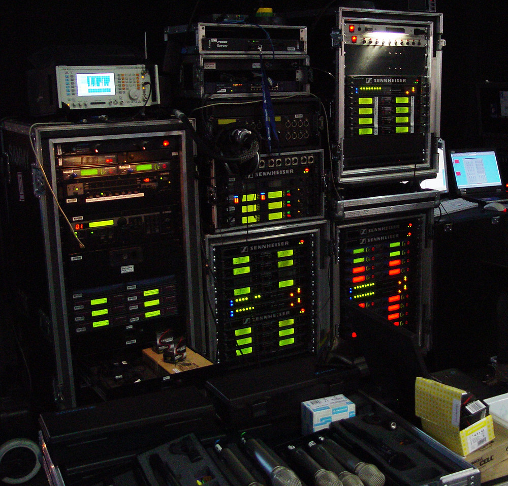 Concert Rack of Wireless Microphone Receivers