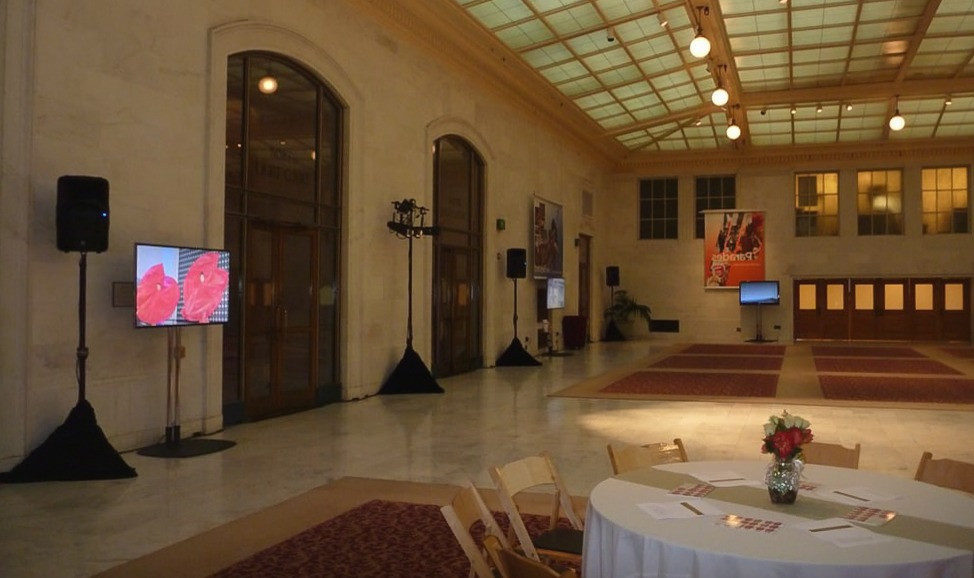 Audio Visual TV and Loudspeakers at a Wedding Reception