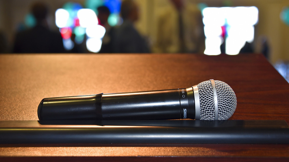 Shure Wireless Handheld Microphone on Lectern