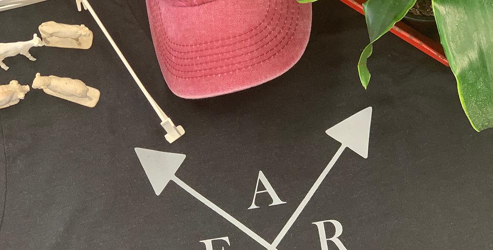 Farm with arrows on heather black tshirt