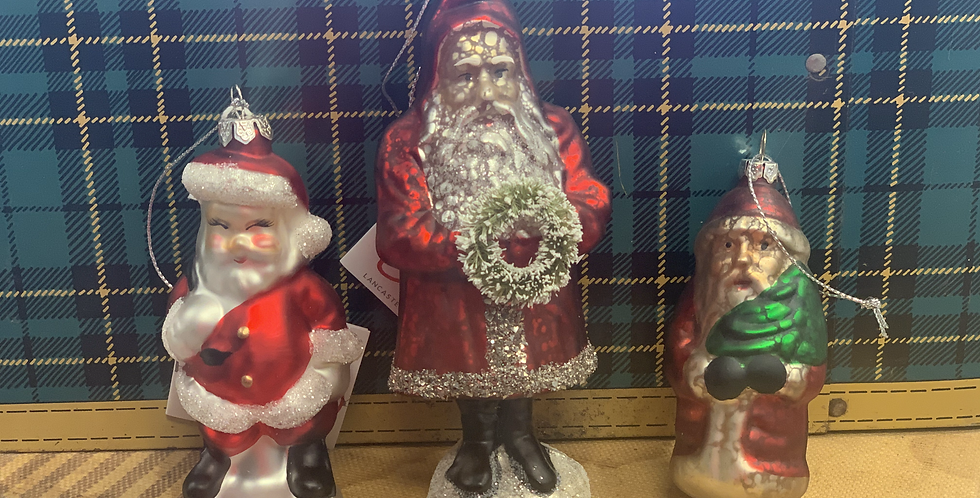 Set of three vintage inspired glass Santa Claus ornaments