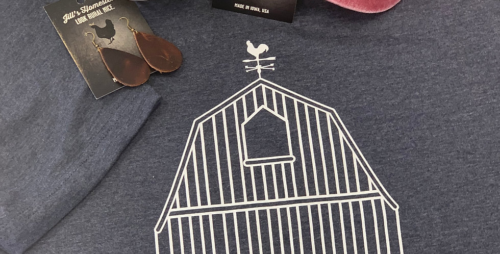 Iowa Barn dark heather blue tshirt