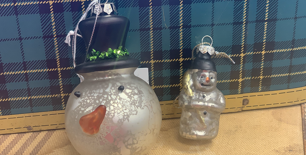 Set of two vintage inspired glass snowman ornaments