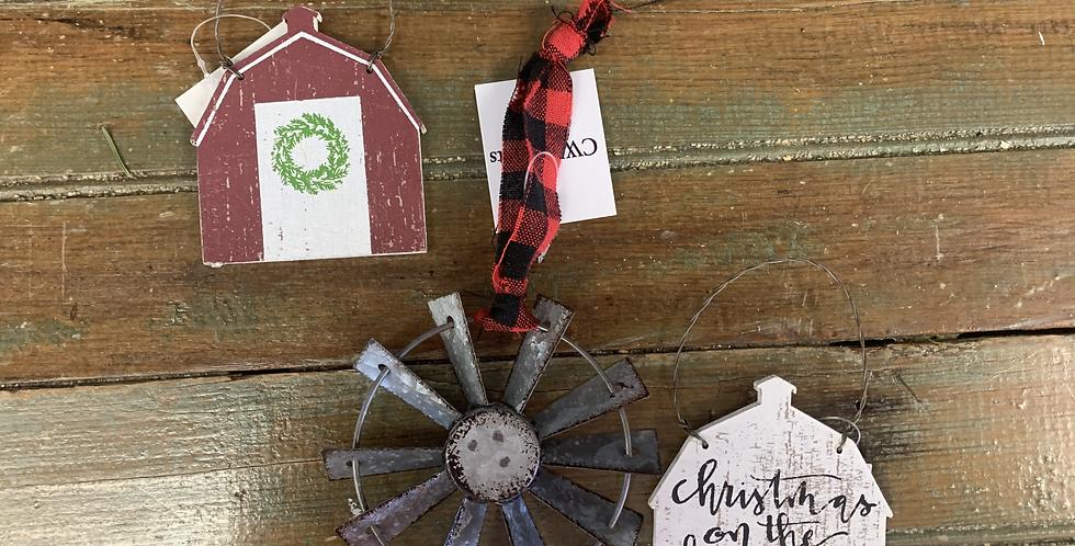 Set of three farm Christmas ornaments