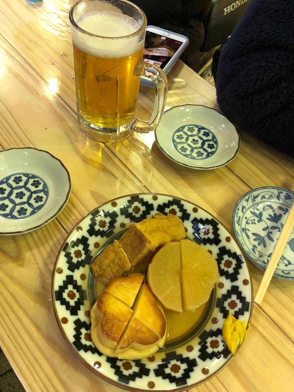 Dashi with Fish Cake, Tofu and Radish