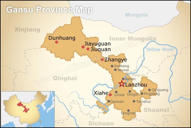 Map of Gansu Province China