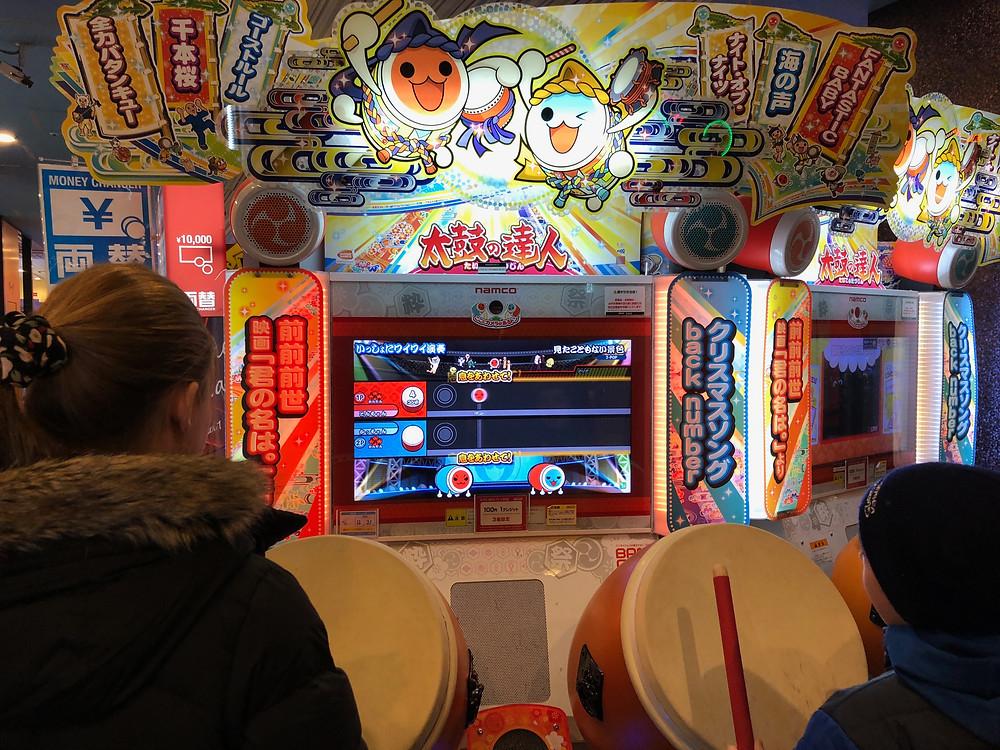 Drumming game in Tokyo, Japan