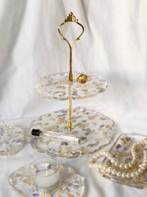 Blue Blush in Bloom Tiered Jewellery Dish