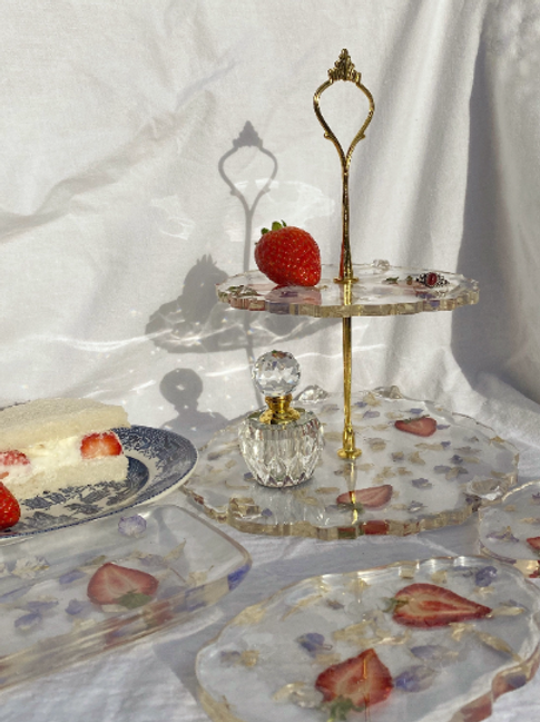 PRE-ORDER StrawBerry Me in Petals tiered Jewellery Dish