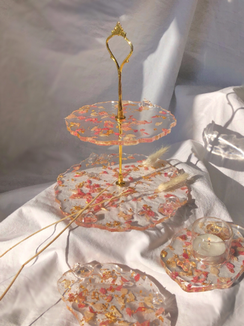 Pink Blush in Bloom Tiered Jewellery Dish