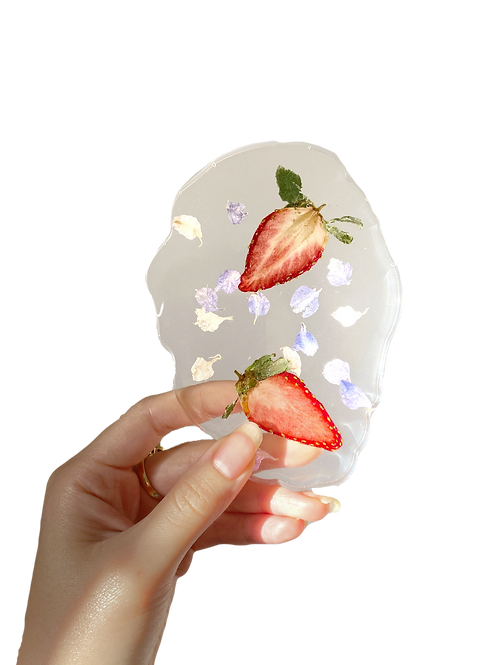 StrawBerry-Me-in-Petals Flat Lay Coaster