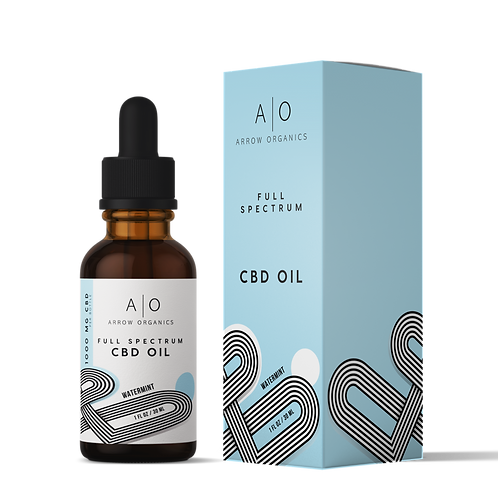 CBD Drops: Watermint 500mg 20:1 CBD to THC ratio