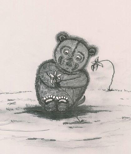 Bear Studying Flower.jpg