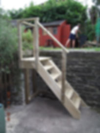New wooden outside steps