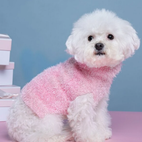 Fuzzy Pup Pink Sweater