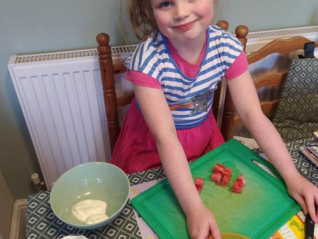 Hattie demonstrates her chopping skills. (1TM)