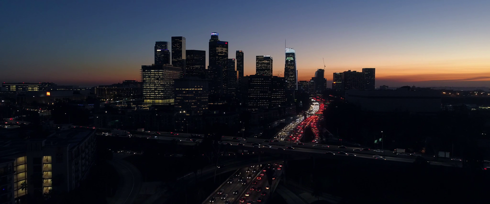 Downtown Los Angeles sunset.