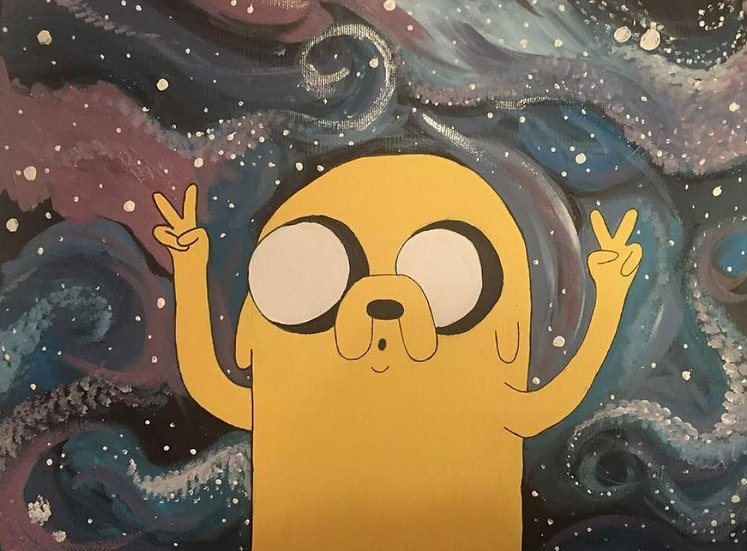 'Jake the Dog in Space' painting on canvas