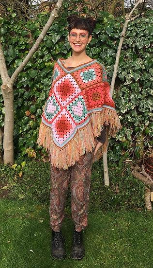 Crochet Poncho in 'terracotta' colourway