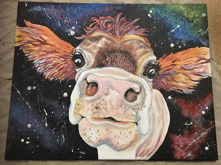 'Cow in Space' acrylic painting on canvas