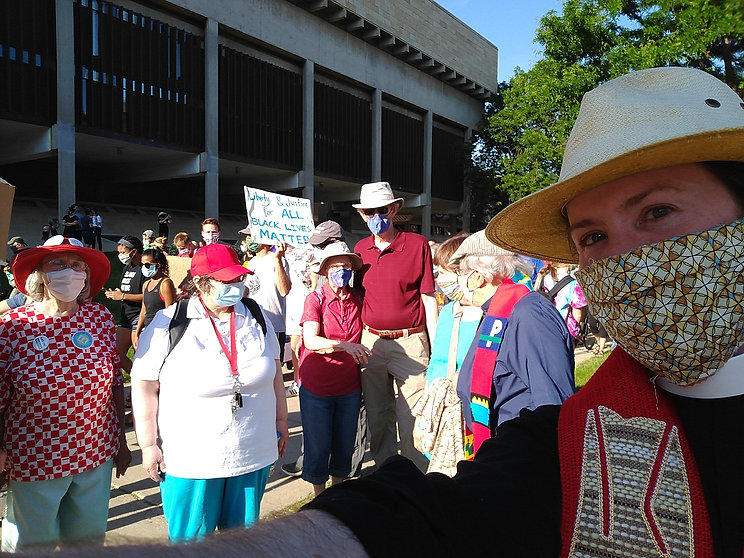 Picture of St. John's members at a masked, socially distant rally for Black Lives, put on by the African American Council of Churches in Madison, WI