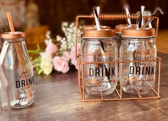 Trinkbecher Glas/Kupfer