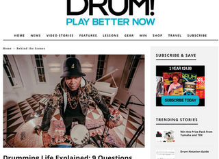 9 QUESTIONS WITH DRUM! MAGAZINE (Feature)