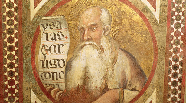 "Simone Martini, ""Maesta: Isaiah,"" detail from the frame, 1315. Palazzo Pubblico, Siena, Italy."