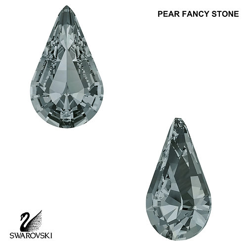 Swarovski Crystal Pear - Black Diamond (Cushion Back) 8x4.8mm (6pc)