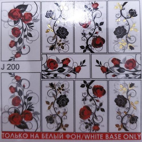 LWE Water Decal - J200 Black & Red Roses
