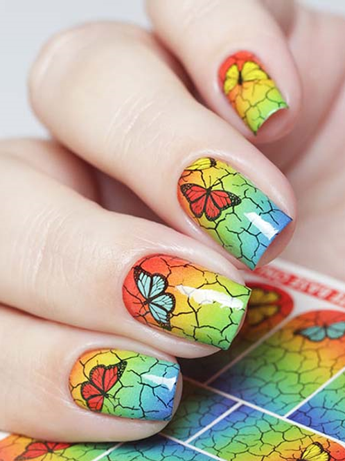 WATER DECAL - N678 RAINBOW CRACKLE BUTTERFLY