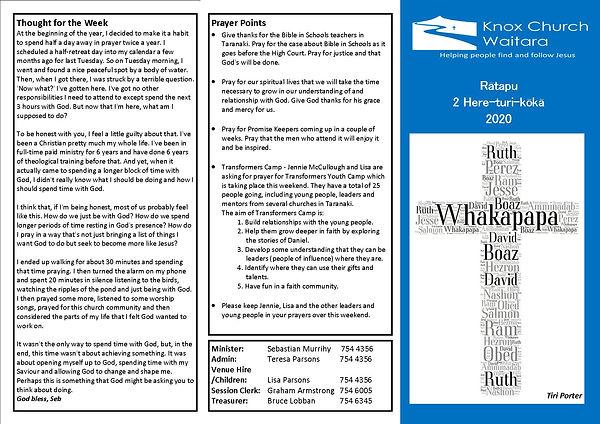 Knox Church Newsletter 2 Aug 2020 aaaaaa