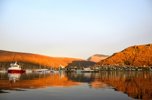 Still water overlooking a Fjord in Tromso, Norway