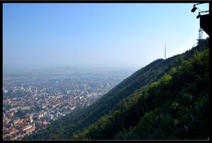 View of Brasov, Romania from Brasov sign