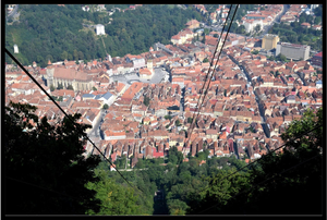 View from the cable car in Brasov, Romania