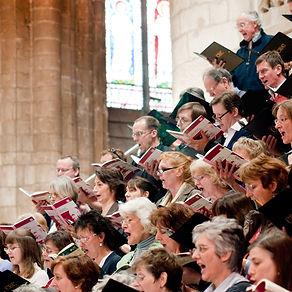 Choir using folders supplied by ChoraLine