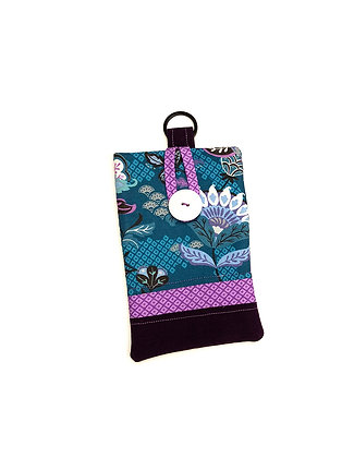 Teal Floral Cell Pouch