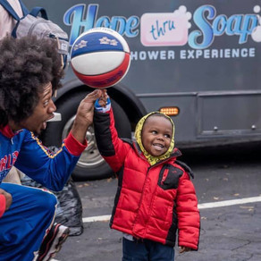 Harlem Globetrotters join Hope thru Soap in The Bluffs for a surprise event!