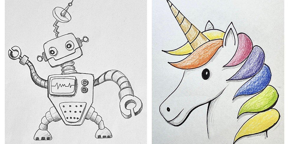 FREE Online Art Class - Robot and Unicorn Drawing