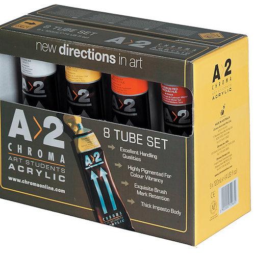 A2 Acrylic Paint Set 8 x 120ml tubes