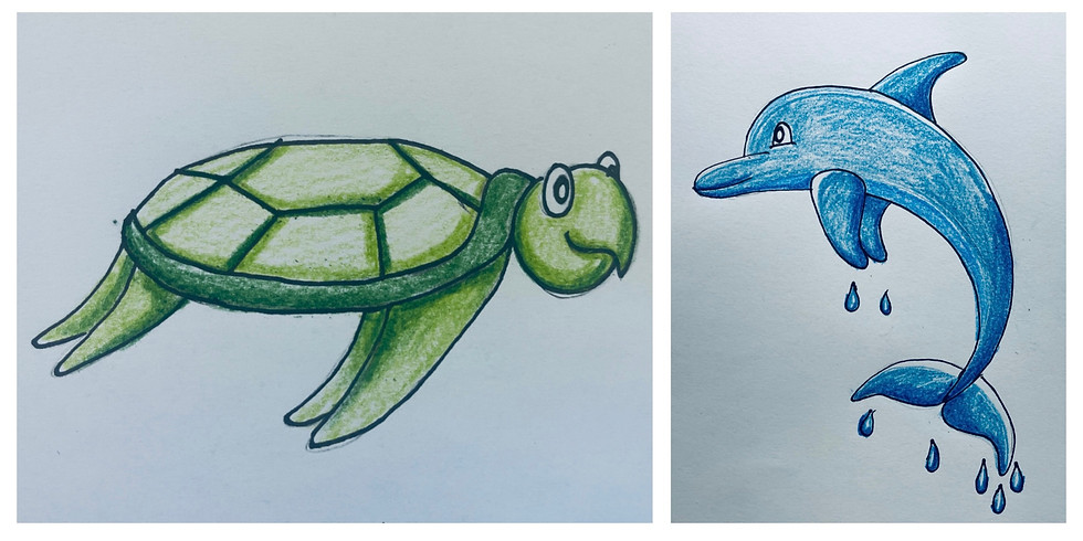 FREE Online Art Class - Turtle and Dolphin