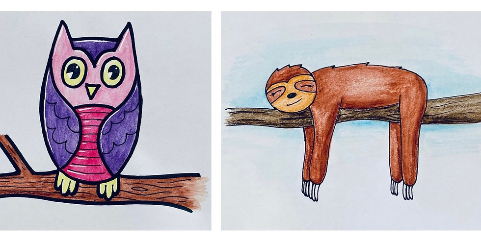 FREE Online Art Class - Owl and Sloth