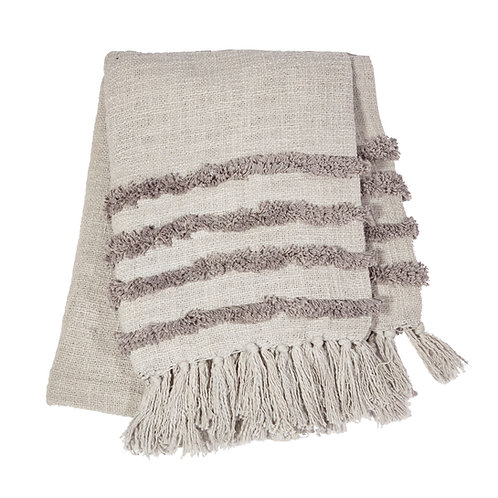 Grey Tufted Blanket Throw with Tassels