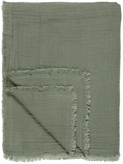Double Weave Blanket/Table Throw, Chalk Green