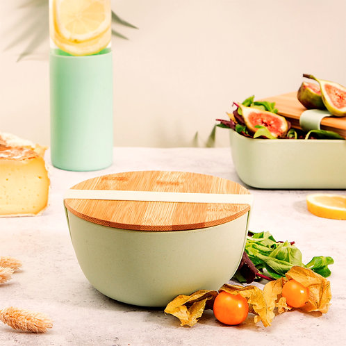 Mint Green Lunch Box Bowl with Bamboo Lid