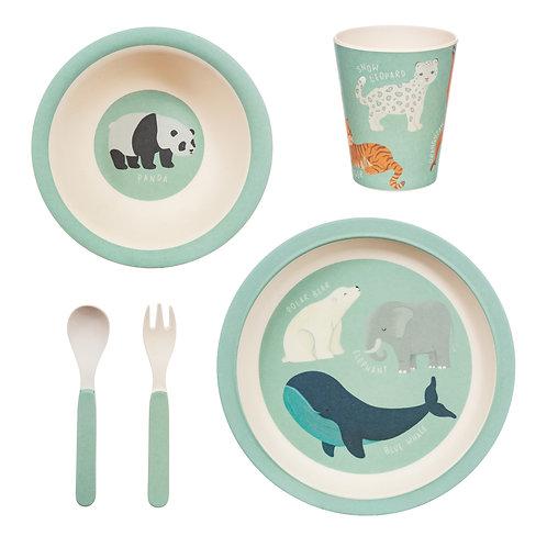 Endangered Animals Bamboo  Dinnerware Set