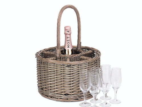 Grey Willow Bubbles & Flutes Round Basket